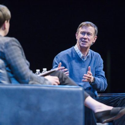Democratic presidential candidate John Hickenlooper is interviewed by Jen Kimmich, co- founder of The Alchemist brewery, at an event hosted by VTDigger at the Flynn Theater in Burlington on Saturday, March 23, 2019. Photo by Glenn Russell/VTDigger